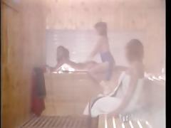 vintage porn - aerobic lesbo women in sauna
