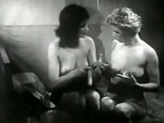 vintage gals playing with dildo.