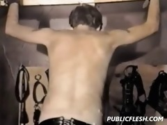 extreme retro homosexual drubbing and slavery