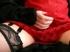 red lacy slip cum