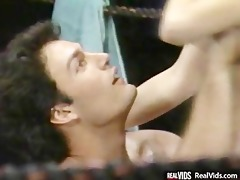 oiled busty playgirl gets banged on ring