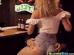 golden-haired honey gangbanged in the bar