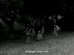 tribal dancing of bare indian gals