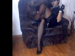 wife in nylon stockings and high heels crossing