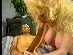 busty older blonde &; a dark guy with a long