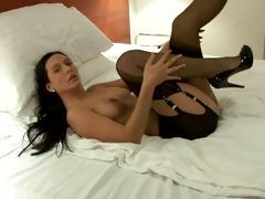 girl in vintage stockings garter thong has rock