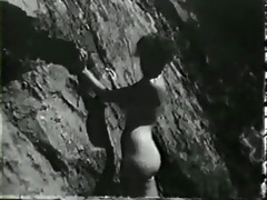pin-up girl on rocks